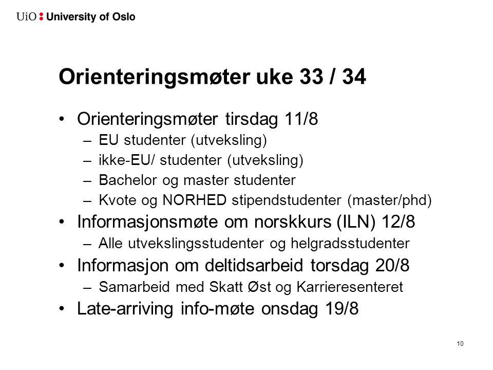 Orienteringsmøter uke 33 / 34 Orienteringsmøter tirsdag 11/8 –EU studenter (utveksling) –ikke-EU/ studenter (utveksling) –Bachelor og master studenter