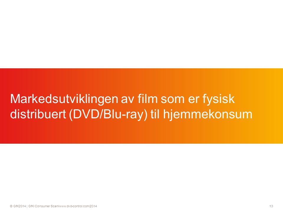 © GfK2014 | GfK Consumer Scan/www.dvd-control.com|2014 13 Markedsutviklingen av film som er fysisk distribuert (DVD/Blu-ray) til hjemmekonsum