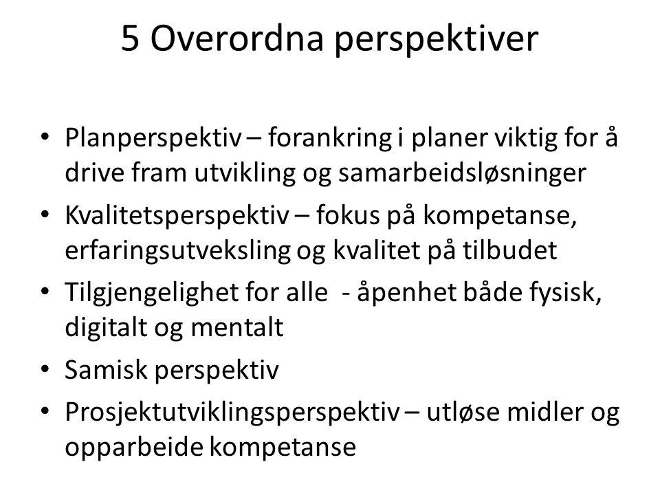 5 Overordna perspektiver Planperspektiv – forankring i planer viktig for å drive fram utvikling og samarbeidsløsninger Kvalitetsperspektiv – fokus på kompetanse, erfaringsutveksling og kvalitet på tilbudet Tilgjengelighet for alle - åpenhet både fysisk, digitalt og mentalt Samisk perspektiv Prosjektutviklingsperspektiv – utløse midler og opparbeide kompetanse
