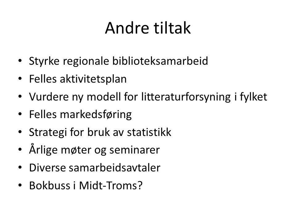 Andre tiltak Styrke regionale biblioteksamarbeid Felles aktivitetsplan Vurdere ny modell for litteraturforsyning i fylket Felles markedsføring Strategi for bruk av statistikk Årlige møter og seminarer Diverse samarbeidsavtaler Bokbuss i Midt-Troms?