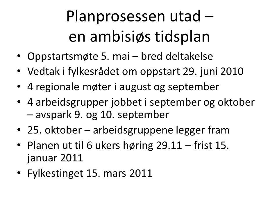Planprosessen utad – en ambisiøs tidsplan Oppstartsmøte 5.