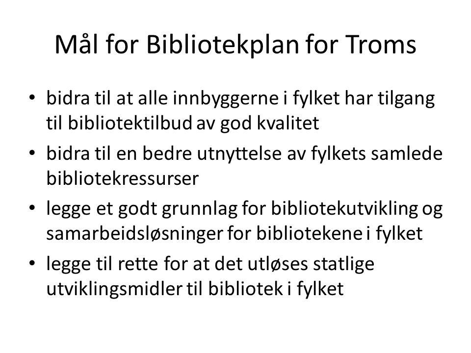 Mål for Bibliotekplan for Troms bidra til at alle innbyggerne i fylket har tilgang til bibliotektilbud av god kvalitet bidra til en bedre utnyttelse av fylkets samlede bibliotekressurser legge et godt grunnlag for bibliotekutvikling og samarbeidsløsninger for bibliotekene i fylket legge til rette for at det utløses statlige utviklingsmidler til bibliotek i fylket