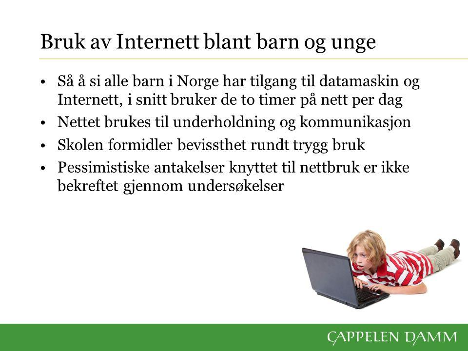 Bruk av Internett blant barn og unge Så å si alle barn i Norge har tilgang til datamaskin og Internett, i snitt bruker de to timer på nett per dag Net