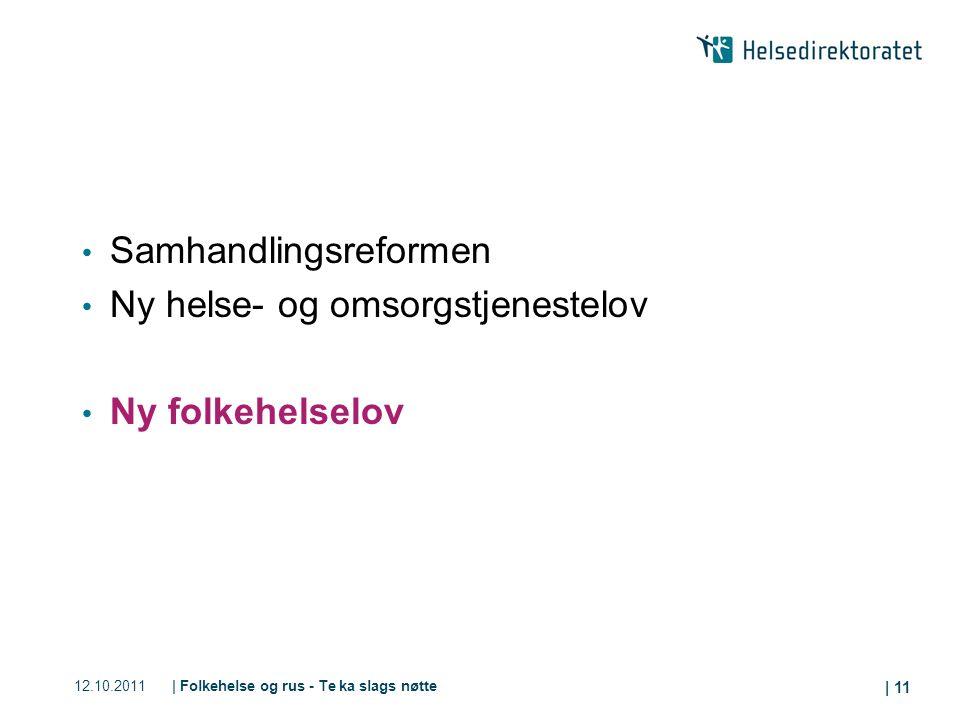12.10.2011| Folkehelse og rus - Te ka slags nøtte | 11 Samhandlingsreformen Ny helse- og omsorgstjenestelov Ny folkehelselov