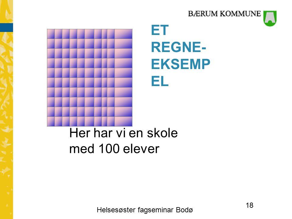 ET REGNE- EKSEMP EL Her har vi en skole med 100 elever Helsesøster fagseminar Bodø 18