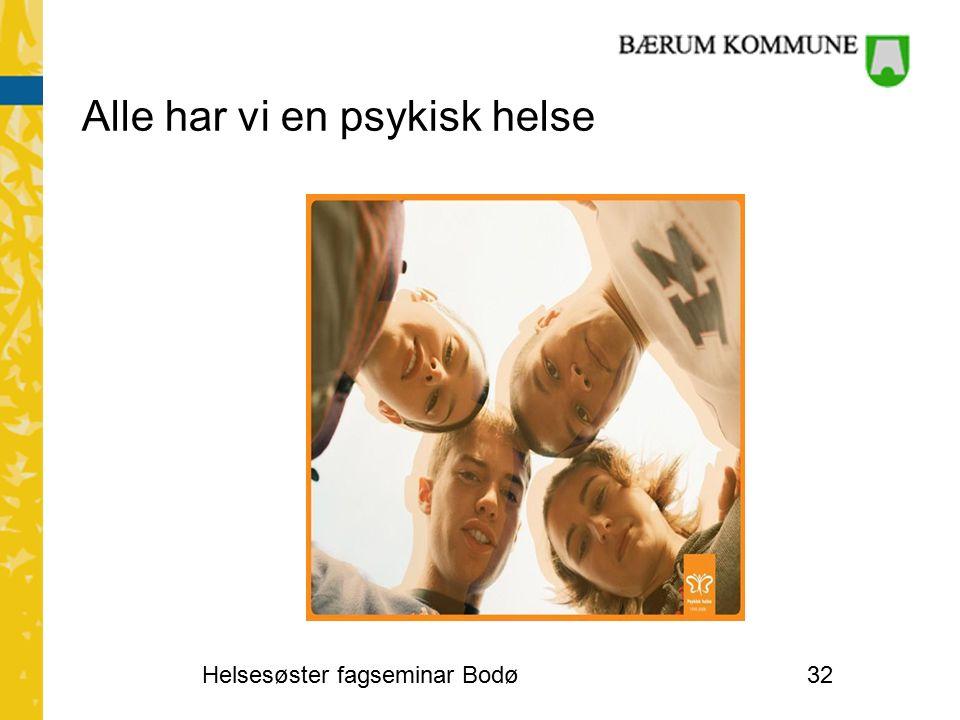 Alle har vi en psykisk helse Helsesøster fagseminar Bodø32