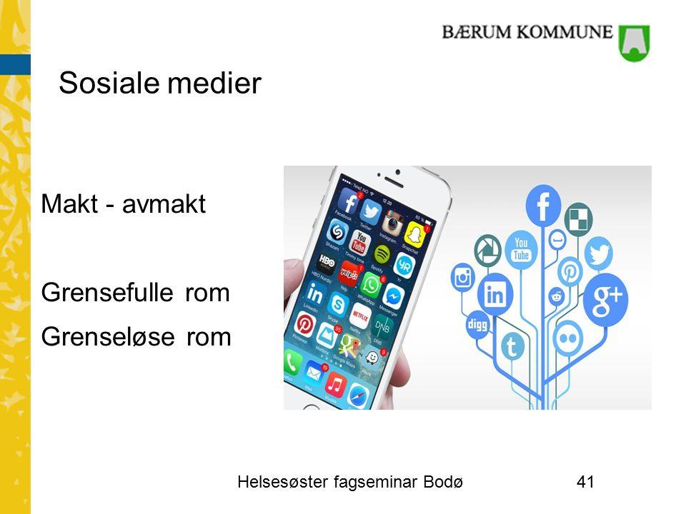 Sosiale medier Makt - avmakt Grensefulle rom Grenseløse rom Helsesøster fagseminar Bodø41