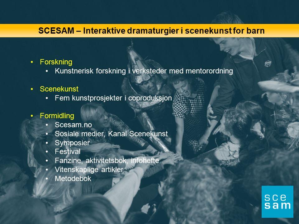 SCESAM – Interaktive dramaturgier i scenekunst for barn Forskning Kunstnerisk forskning i verksteder med mentorordning Scenekunst Fem kunstprosjekter