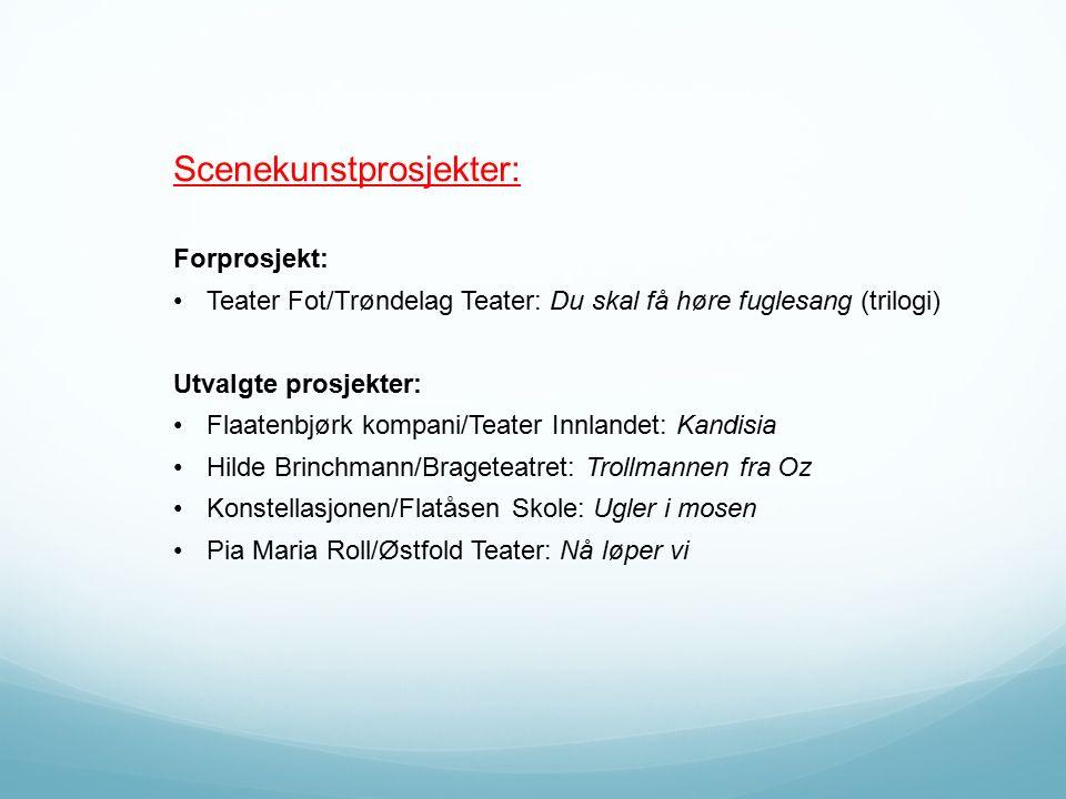 Scenekunstprosjekter: Forprosjekt: Teater Fot/Trøndelag Teater: Du skal få høre fuglesang (trilogi) Utvalgte prosjekter: Flaatenbjørk kompani/Teater I