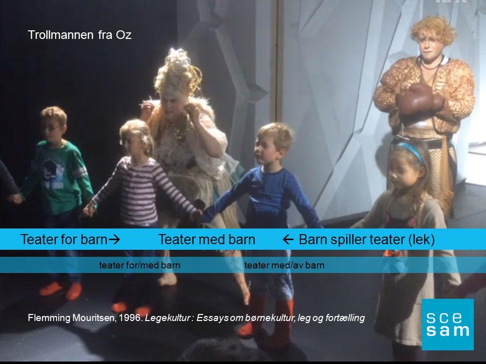 Teater for barn  Teater med barn  Barn spiller teater (lek) teater for/med barn teater med/av barn Flemming Mouritsen, 1996. Legekultur : Essays om