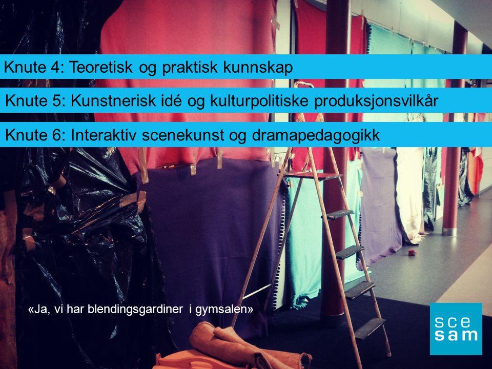 Knute 4: Teoretisk og praktisk kunnskap Knute 5: Kunstnerisk idé og kulturpolitiske produksjonsvilkår Knute 6: Interaktiv scenekunst og dramapedagogik