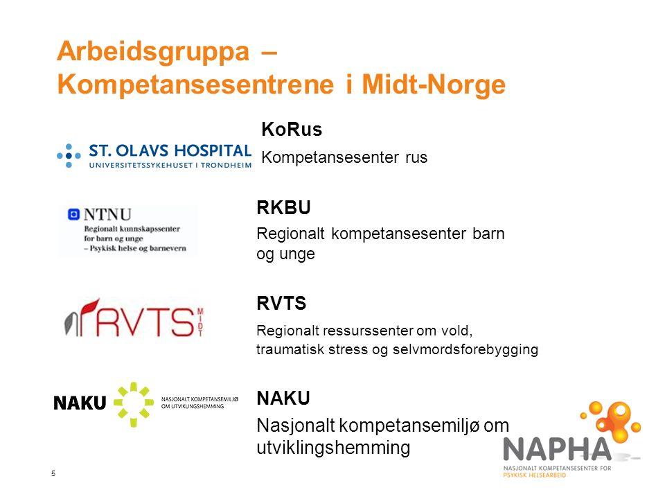 5 Arbeidsgruppa – Kompetansesentrene i Midt-Norge KoRus Kompetansesenter rus RKBU Regionalt kompetansesenter barn og unge RVTS Regionalt ressurssenter om vold, traumatisk stress og selvmordsforebygging NAKU Nasjonalt kompetansemiljø om utviklingshemming