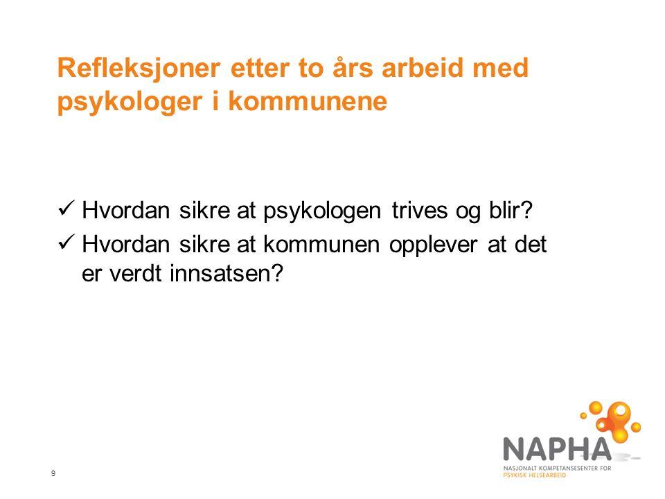 20 NAPHA ønsker seg: Flere psykologer i voksenfeltet Flere interkommunale samarbeid