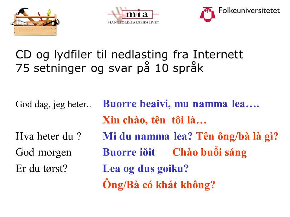 CD og lydfiler til nedlasting fra Internett 75 setninger og svar på 10 språk God dag, jeg heter.. Buorre beaivi, mu namma lea…. Xin chào, tên tôi là…