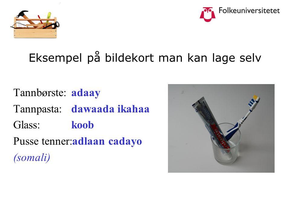 Eksempel på bildekort man kan lage selv Tannbørste:adaay Tannpasta:dawaada ikahaa Glass: koob Pusse tenner:adlaan cadayo (somali)