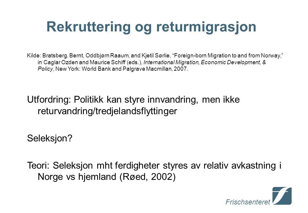 """Frischsenteret Rekruttering og returmigrasjon Kilde: Bratsberg, Bernt, Oddbjørn Raaum, and Kjetil Sørlie, """"Foreign-born Migration to and from Norway,"""""""