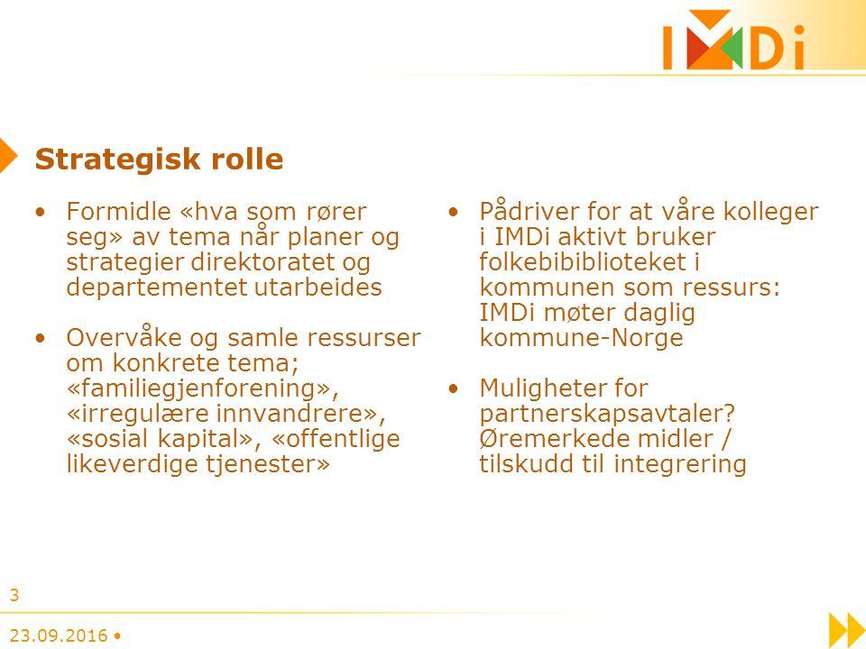 Strategisk rolle Formidle «hva som rører seg» av tema når planer og strategier direktoratet og departementet utarbeides Overvåke og samle ressurser om konkrete tema; «familiegjenforening», «irregulære innvandrere», «sosial kapital», «offentlige likeverdige tjenester» Pådriver for at våre kolleger i IMDi aktivt bruker folkebibiblioteket i kommunen som ressurs: IMDi møter daglig kommune-Norge Muligheter for partnerskapsavtaler.