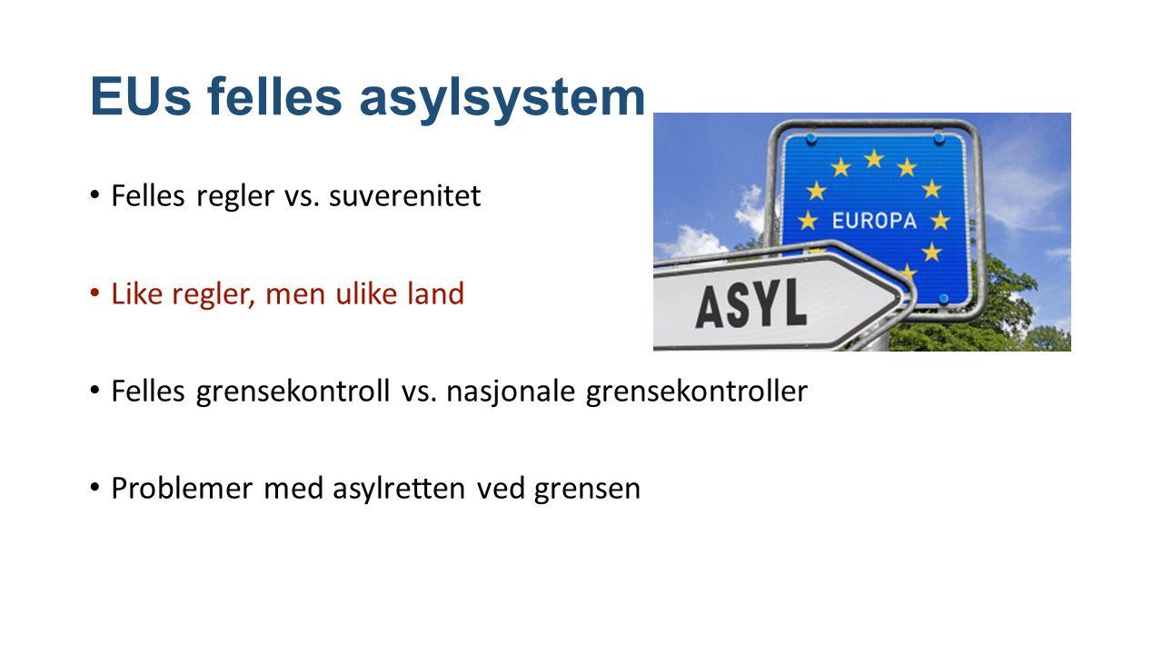 EUs felles asylsystem Felles regler vs.