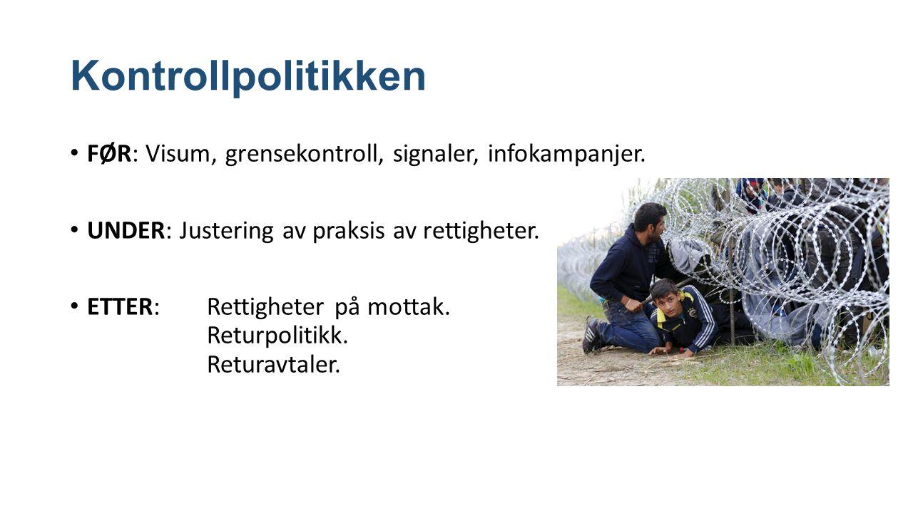 Kontrollpolitikken FØR: Visum, grensekontroll, signaler, infokampanjer.