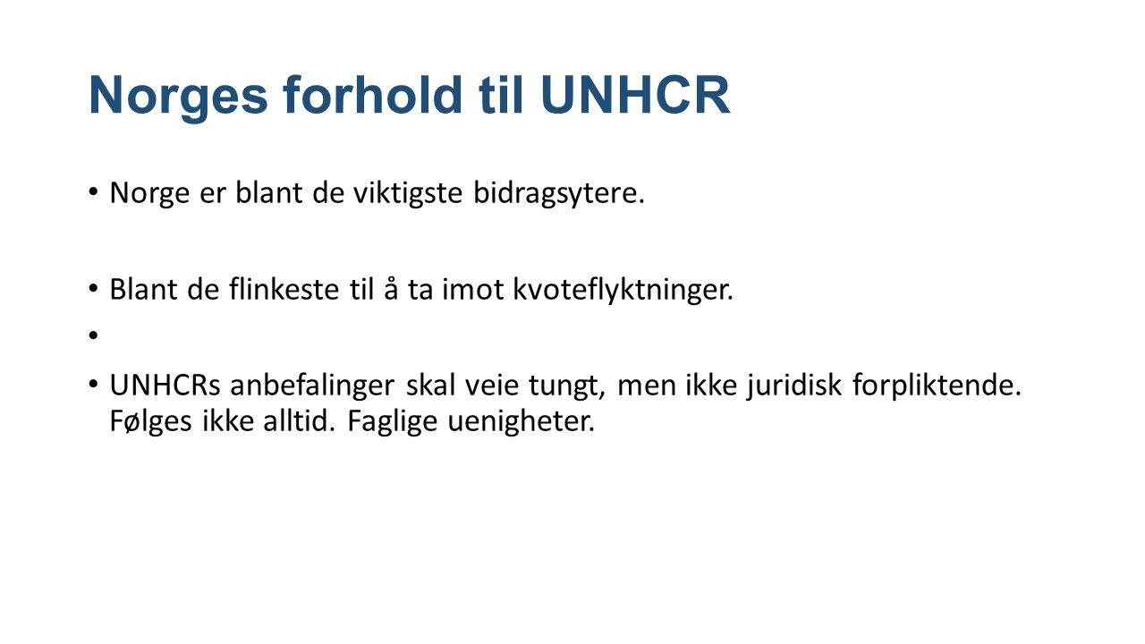 Norges forhold til UNHCR Norge er blant de viktigste bidragsytere.