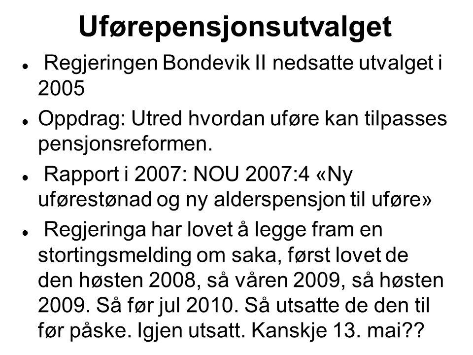 Uførepensjonsutvalget Regjeringen Bondevik II nedsatte utvalget i 2005 Oppdrag: Utred hvordan uføre kan tilpasses pensjonsreformen. Rapport i 2007: NO