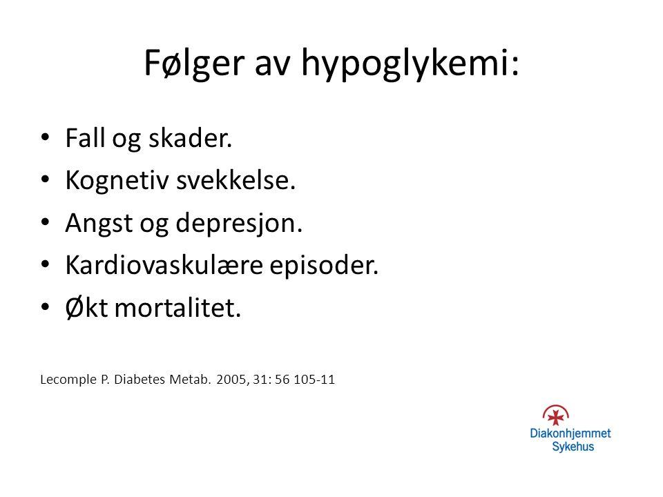 Følger av hypoglykemi: Fall og skader. Kognetiv svekkelse. Angst og depresjon. Kardiovaskulære episoder. Økt mortalitet. Lecomple P. Diabetes Metab. 2