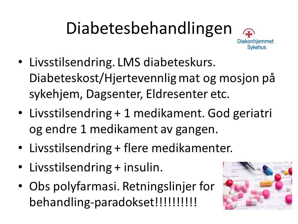 Diabetesbehandlingen Livsstilsendring. LMS diabeteskurs. Diabeteskost/Hjertevennlig mat og mosjon på sykehjem, Dagsenter, Eldresenter etc. Livsstilsen