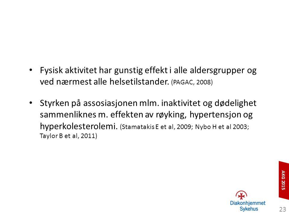 AKG 2015 Fysisk aktivitet har gunstig effekt i alle aldersgrupper og ved nærmest alle helsetilstander. (PAGAC, 2008) Styrken på assosiasjonen mlm. ina