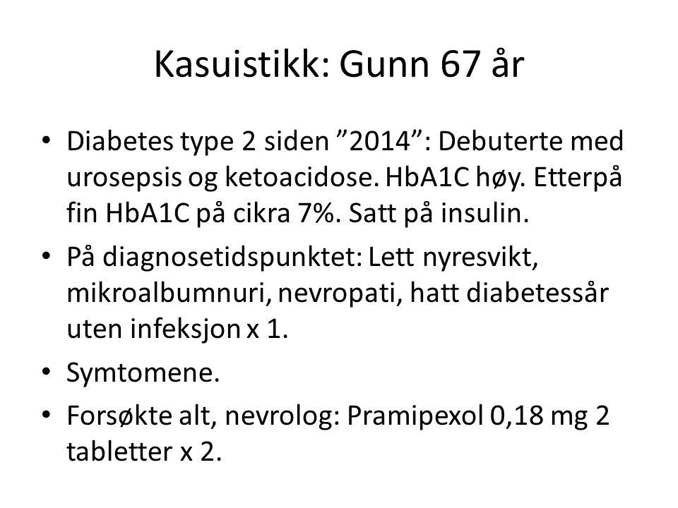 """Kasuistikk: Gunn 67 år Diabetes type 2 siden """"2014"""": Debuterte med urosepsis og ketoacidose. HbA1C høy. Etterpå fin HbA1C på cikra 7%. Satt på insulin"""