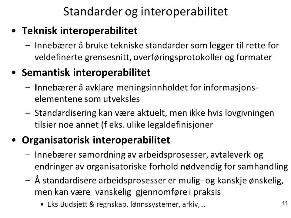 Standarder og interoperabilitet Teknisk interoperabilitet –Innebærer å bruke tekniske standarder som legger til rette for veldefinerte grensesnitt, overføringsprotokoller og formater Semantisk interoperabilitet –Innebærer å avklare meningsinnholdet for informasjons- elementene som utveksles –Standardisering kan være aktuelt, men ikke hvis lovgivningen tilsier noe annet (f eks.