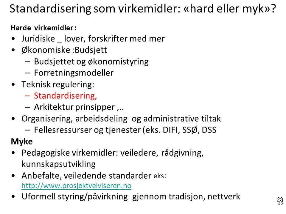 23 Standardisering som virkemidler: «hard eller myk».