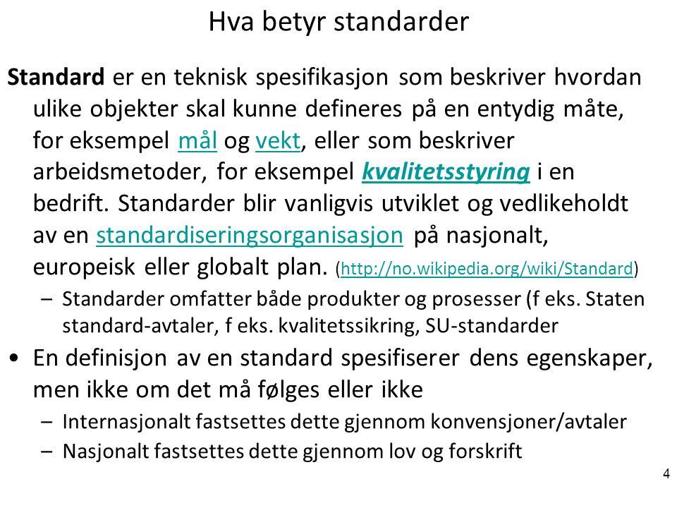 4 Hva betyr standarder Standard er en teknisk spesifikasjon som beskriver hvordan ulike objekter skal kunne defineres på en entydig måte, for eksempel mål og vekt, eller som beskriver arbeidsmetoder, for eksempel kvalitetsstyring i en bedrift.