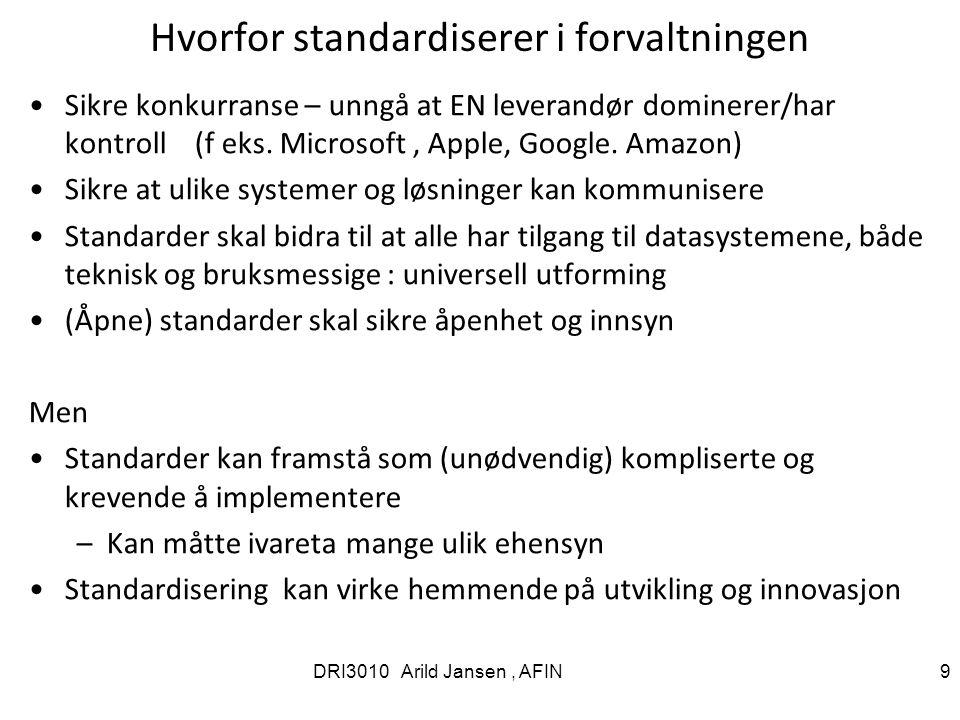 Hvorfor standardiserer i forvaltningen Sikre konkurranse – unngå at EN leverandør dominerer/har kontroll (f eks.