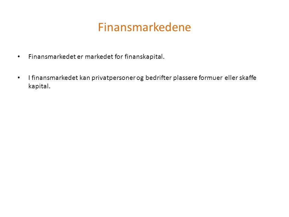 Finansmarkedene Finansmarkedet er markedet for finanskapital.