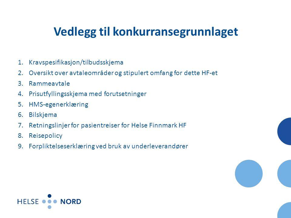 Vedlegg til konkurransegrunnlaget 1.Kravspesifikasjon/tilbudsskjema 2.Oversikt over avtaleområder og stipulert omfang for dette HF-et 3.Rammeavtale 4.Prisutfyllingsskjema med forutsetninger 5.HMS-egenerklæring 6.Bilskjema 7.Retningslinjer for pasientreiser for Helse Finnmark HF 8.Reisepolicy 9.Forpliktelseserklæring ved bruk av underleverandører