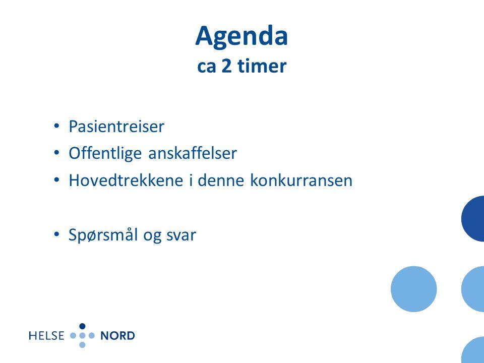 Agenda ca 2 timer Pasientreiser Offentlige anskaffelser Hovedtrekkene i denne konkurransen Spørsmål og svar