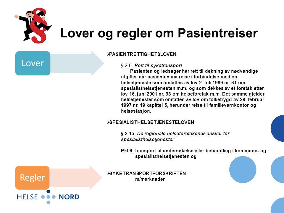 Lover og regler om Pasientreiser  PASIENTRETTIGHETSLOVEN § 2-6.