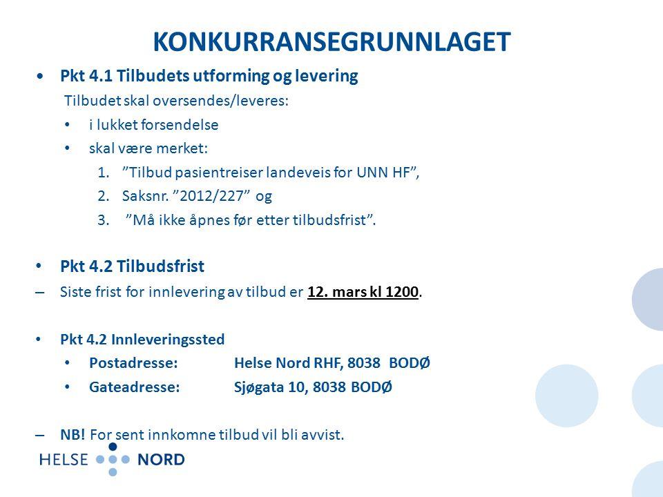 KONKURRANSEGRUNNLAGET Pkt 4.1 Tilbudets utforming og levering Tilbudet skal oversendes/leveres: i lukket forsendelse skal være merket: 1. Tilbud pasientreiser landeveis for UNN HF , 2.Saksnr.