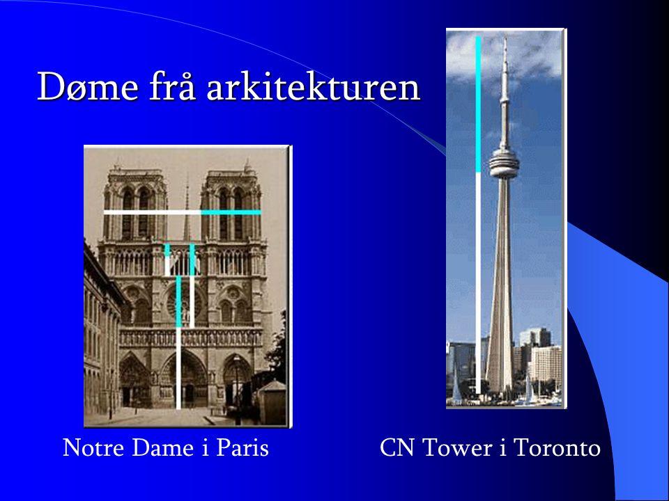 Døme frå arkitekturen Notre Dame i Paris CN Tower i Toronto