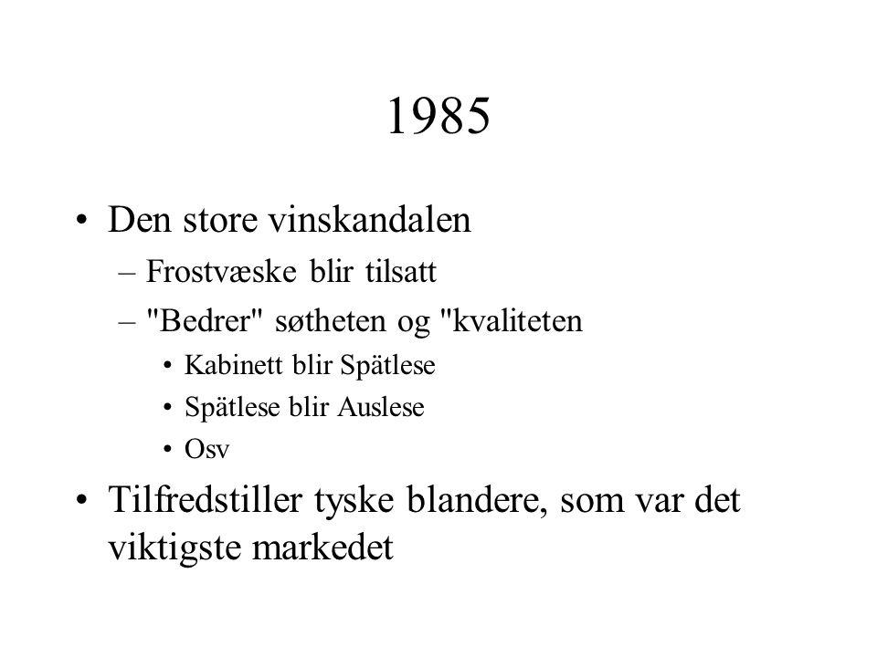 1985 Den store vinskandalen –Frostvæske blir tilsatt – Bedrer søtheten og kvaliteten Kabinett blir Spätlese Spätlese blir Auslese Osv Tilfredstiller tyske blandere, som var det viktigste markedet