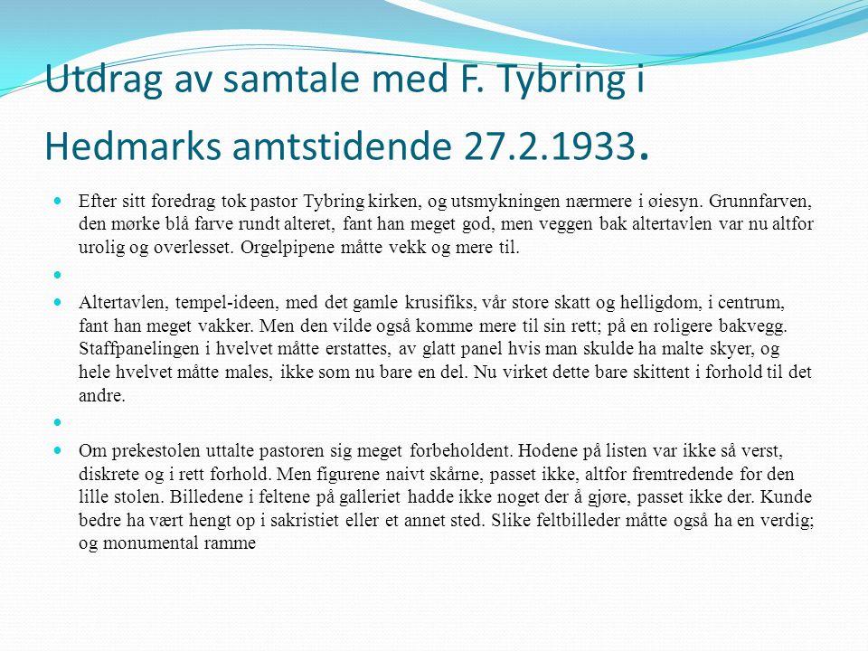 Utdrag av samtale med F. Tybring i Hedmarks amtstidende 27.2.1933.