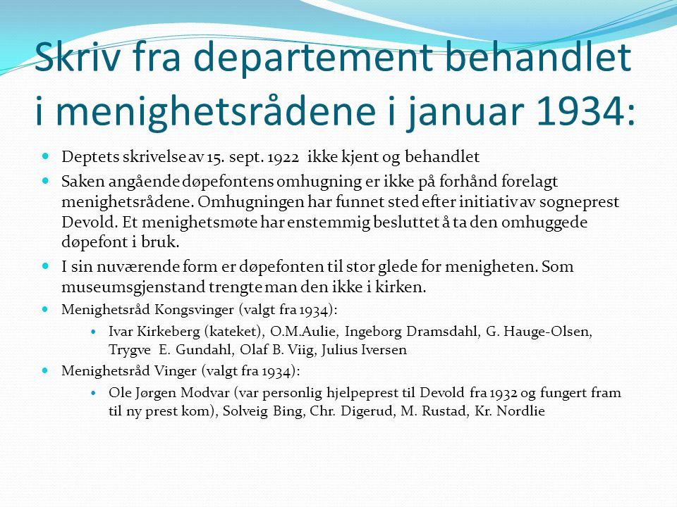 Skriv fra departement behandlet i menighetsrådene i januar 1934: Deptets skrivelse av 15.