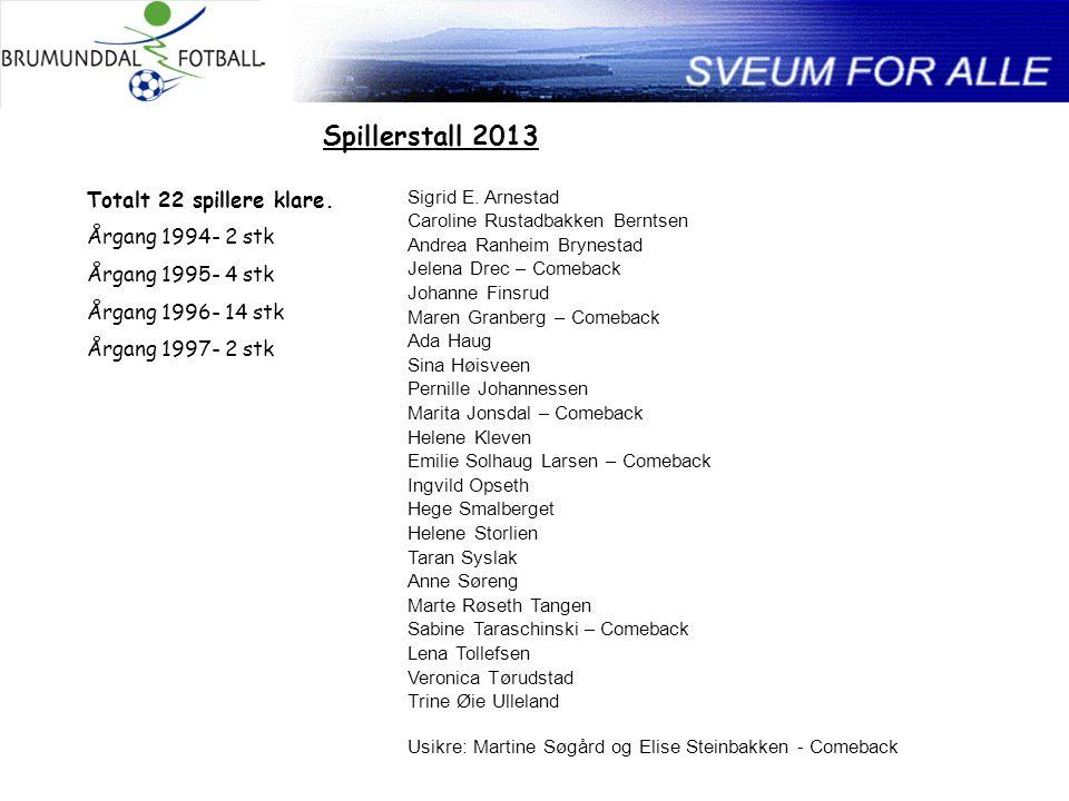Spillerstall 2013 Totalt 22 spillere klare.