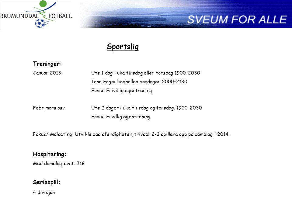 Sportslig Treninger: Januar 2013:Ute 1 dag i uka tirsdag eller torsdag 1900-2030 Inne Fagerlundhallen søndager 2000-2130 Fønix.