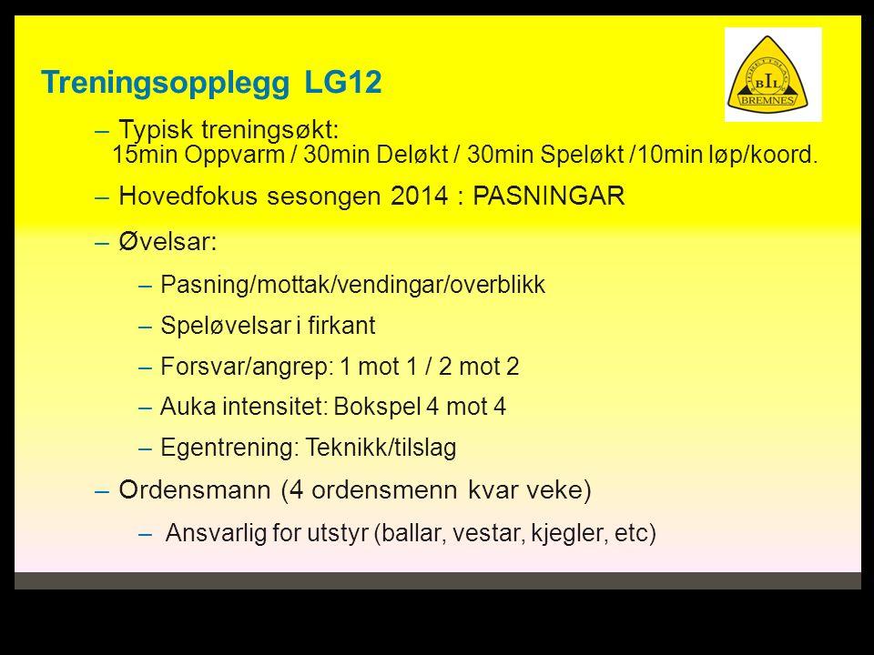 Treningsopplegg LG12 – Typisk treningsøkt: 15min Oppvarm / 30min Deløkt / 30min Speløkt /10min løp/koord.