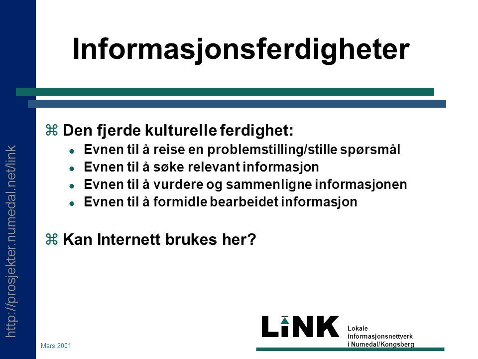 http://prosjekter.numedal.net/link LINK Lokale informasjonsnettverk i Numedal/Kongsberg Mars 2001 Kurssider  Se ellers: http://www.kongsberg.vgs.no/kurs Da avslutter vi her: http://home.att.net/~cecw/lastpage.htm