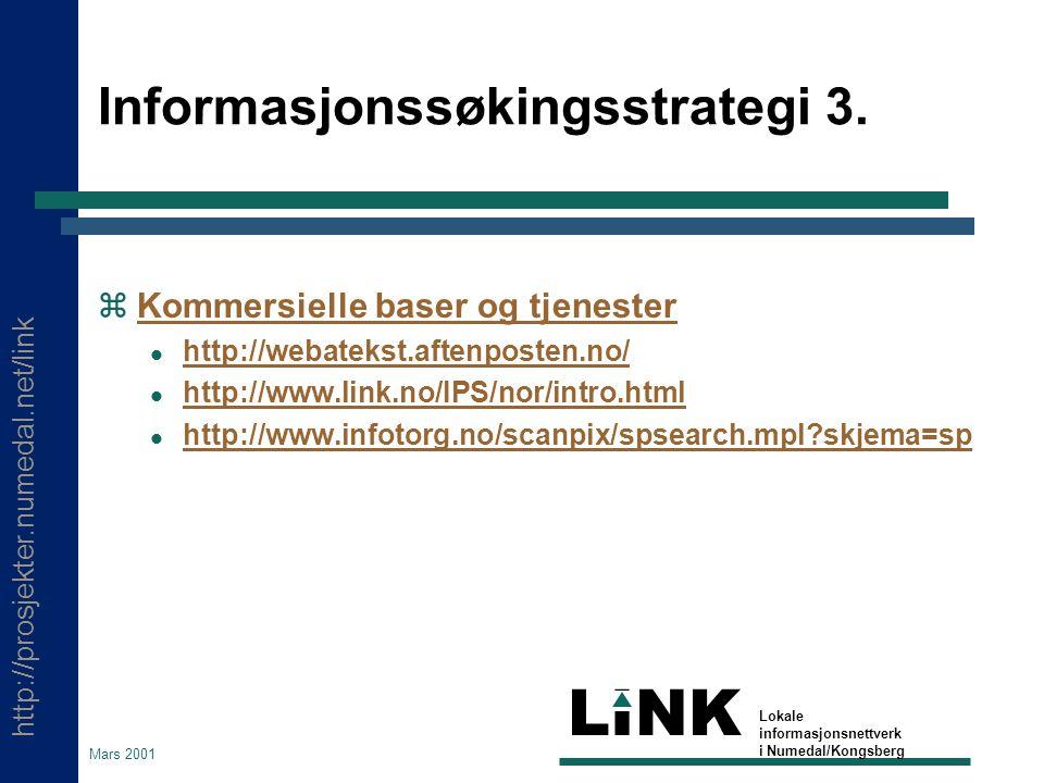 http://prosjekter.numedal.net/link LINK Lokale informasjonsnettverk i Numedal/Kongsberg Mars 2001 Informasjonssøkingsstrategi 3.