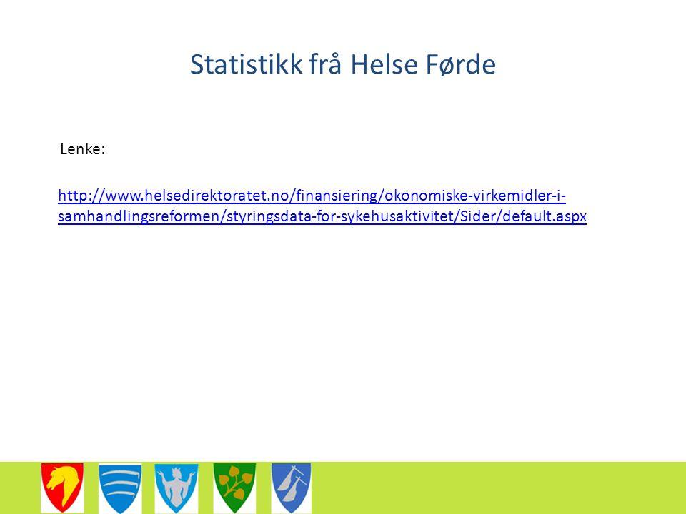 Statistikk frå Helse Førde http://www.helsedirektoratet.no/finansiering/okonomiske-virkemidler-i- samhandlingsreformen/styringsdata-for-sykehusaktivitet/Sider/default.aspx Lenke: