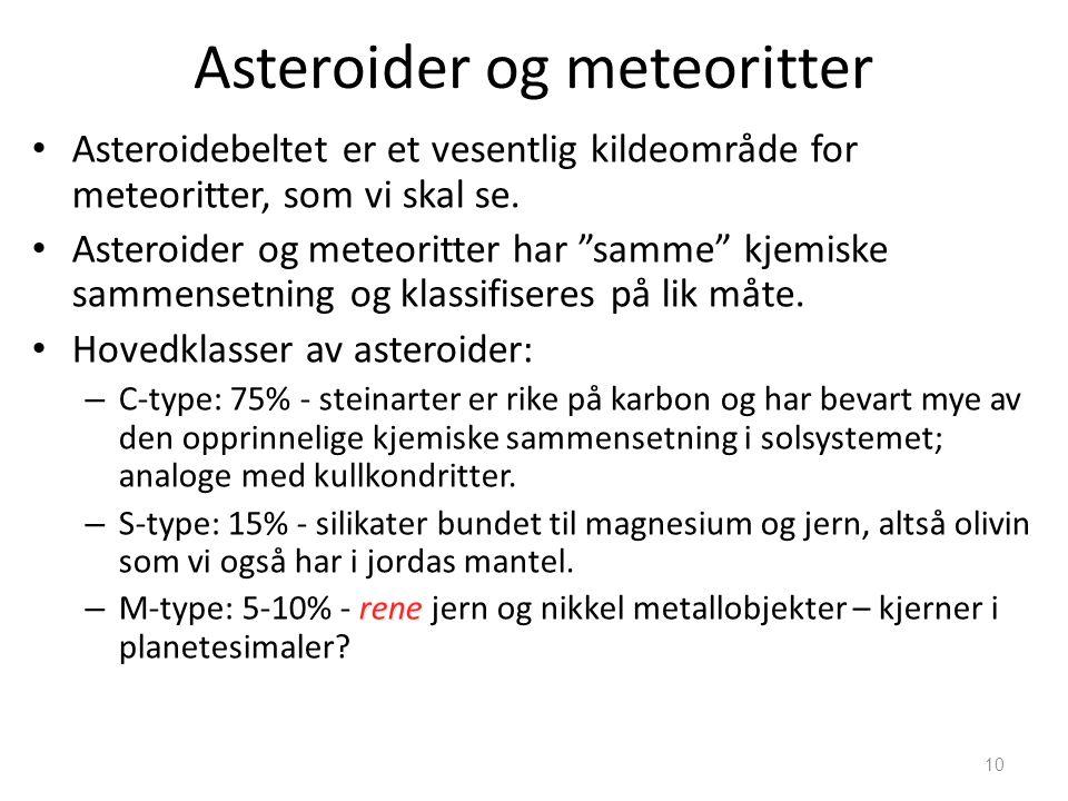 """10 Asteroider og meteoritter Asteroidebeltet er et vesentlig kildeområde for meteoritter, som vi skal se. Asteroider og meteoritter har """"samme"""" kjemis"""