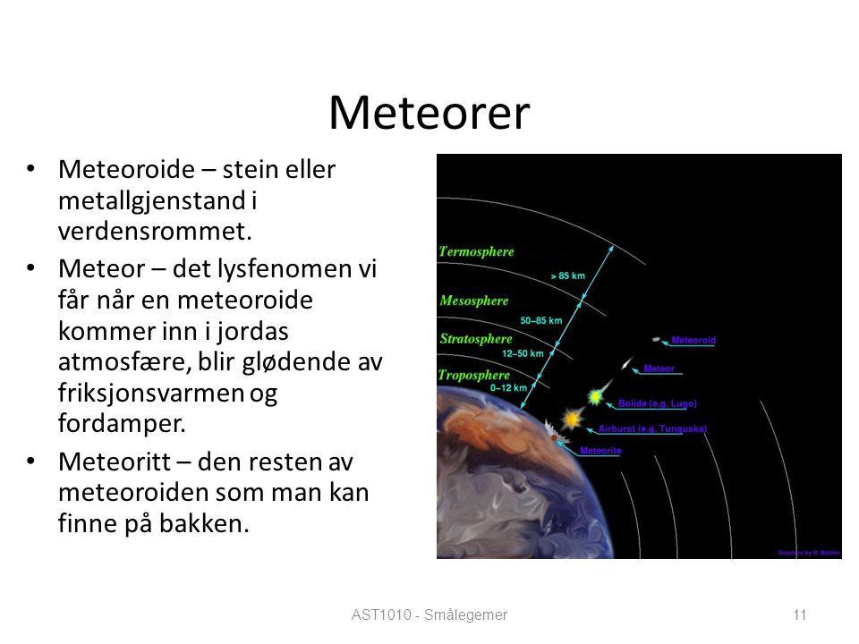AST1010 - Smålegemer11 Meteorer Meteoroide – stein eller metallgjenstand i verdensrommet. Meteor – det lysfenomen vi får når en meteoroide kommer inn